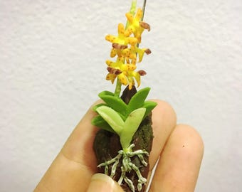 Miniature Orchid Flower | Miniature Flower | Orchid Flower | Miniature Vase | Dollhouse Flower | Miniature Garden | Yellow Orchid