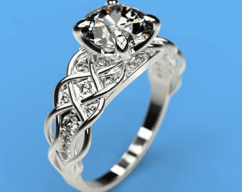2 cts Moissanite Engagement Ring with 24 Natural Diamond Accent Stones 14K White Gold  Ring