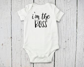 I'm the Boss Baby Onesie | Going Home Baby Outfit | Funny Baby Onesie | Baby Bodysuit | Baby Shower Gift | Long Sleeve, Short Sleeve Onesie