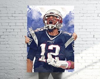 Tom Brady 3 New England Patriots - Sports Art Print Poster - Watercolor Abstract Paint Splash - Kids Decor - Gifts for Men - Man Cave