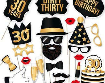 40PCS Dirty 30 Birthday Photo Booth Props, Party Props, Photo Booth Props, Party Supplies, Party Decor, Party, Photo props, Baby Shower