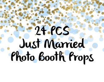 24PCS Just Married Photo Booth Props, Party Props, Photo Booth Props, Party Supply, Party Decor, Party, Photo props, Wedding Props, Wedding