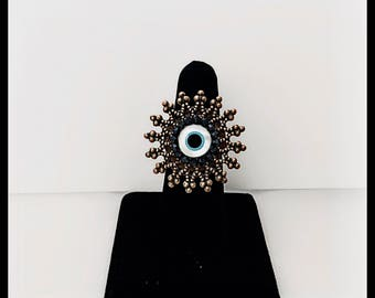 Big Round Mother Of Pearl Evil Eye Ring With Black Swarovski Crystals and Decorated Copper and Brass Frame, Hand wired Copper Brass Ring