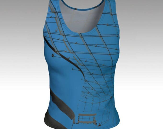 Blue and Black Graphic Tank Top, Photo Art Tank Top, Fitted Tank Top, Swim Top, Women's Tank Top, Women's Tops, Yoga Tops, Printed Tank Top