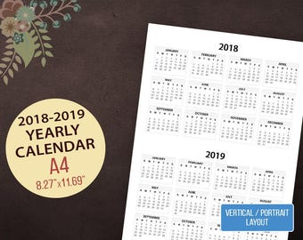 2018-2019 Yearly Calendar, Vertical Wall Calendar, Desktop Calendar, 2 Year Calendar, Printable Calendar, 2018 Portrait Calendar, A4