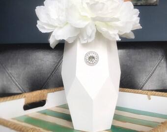 White Glass Vase, Painted White Vase, Shabby Chic Rustic Vase, Shabby Chic Vase, Hand Painted Vase, White Table Vase, White Centerpiece