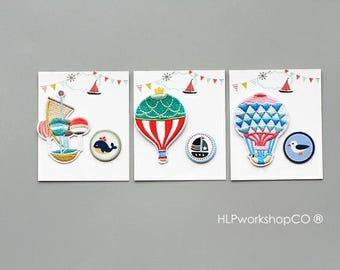 HOT AIR BALLOON -- Handmade Embroidered Patch Brooches Pins/Fabric Badge/Iron-On Patches/Stitching/Deco/Decor/Fly/Sky/Propose/Love