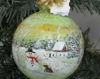 Christmas Ornament - Hand Painted Christmas Ornament - Winter Scene Ornament - Hand Painted Ornament - Christmas Gift - Best Friend Gift
