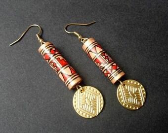 Ethnic Earrings | Gold Plated Dangle Earrings | Aztec Earrings | Tribal Earrings | Pendientes | Peruvian Ceramic Earrings