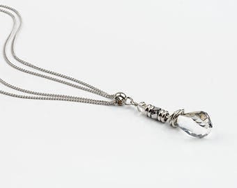 Long necklace, Swarovski Crystal, stainless steel