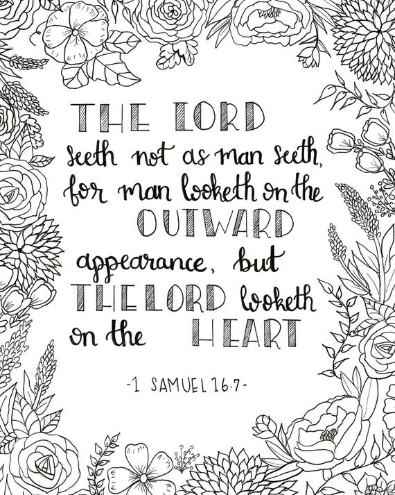 Printable Coloring Page 1 Samuel 167 The Lord Looketh