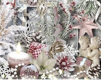 Christmas Digital Scrapbook Kit, Digital Christmas Elements and Graphics, Christmas Digital Background Papers, Holiday Digital Graphics