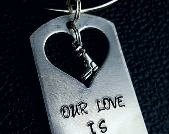Our love is army strong key chain, for her, birthday, Christmas, anniversary, couples
