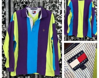 Tommy Hilfiger Neon Polo Vertical Stripes Long Sleeved Shirt Chartreuse Turquoise Purple Seersucker Collar Crest Vintage 90's Men's L