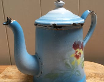 Small vintage rare hand painted french enamel coffee pot , 1930's, French cuisine, Home Decor.