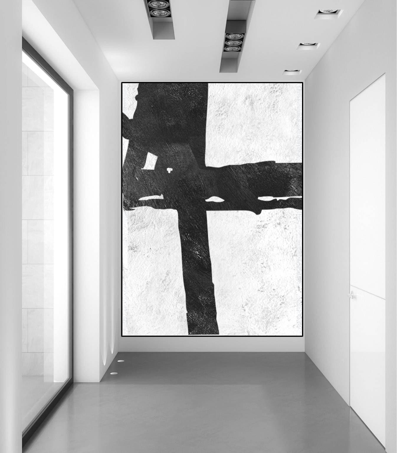 grand tableau original tableau abstrait noir et blanc toile. Black Bedroom Furniture Sets. Home Design Ideas