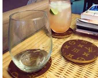 Set of 4 Coasters hand covered in authentic monogram canvas