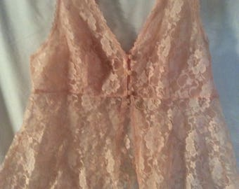 Peach Lace Three Button lingerie Top