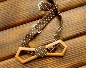 Wood bow tie Christmas bow tie Holiday bow tie Polka dot bow tie Wood anniversary gift Rustic wedding Wood anniversary gift  Unique bow tie