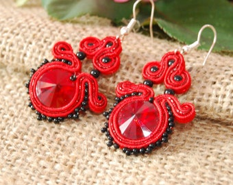 Red Crystal earrings, soutache earrings with crystal, Christmas earrings