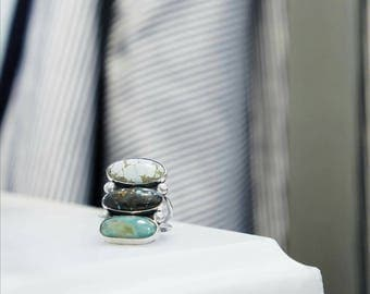 Handmade Triple Turquoise Sterling Silver Ring sz. 7.25