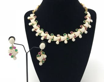 Indian Jewelry Set - Indian Pearl Jewelry - Moti Set - Bollywood Jewelry - Kundan Jewelry - Indian Bridal Set - Pakistani Jewelry - Polki -