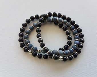 Three stacking bracelets blue coral and onyx stretchy bracelet gemstone jewelry NZ00036