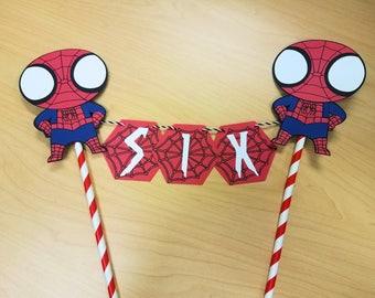Spider Man Cake Bunting - Spiderman Topper