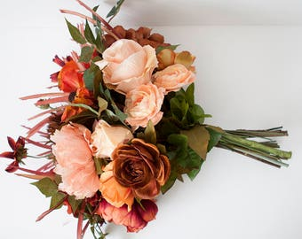 Coral Silk Wedding Bouquet, Peach Bouquet, Silk Bouquet, Fall Bouquet, Peach Orange Rust Wedding Bouquet, Boho Bouquet, Peony Bouquet,