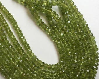 Finest quality Peridot micro faceted rondelle beads,4-5mm ,18 inch strand