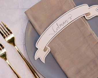 Printable Cream Ribbon / Banner Wedding Table Place Cards