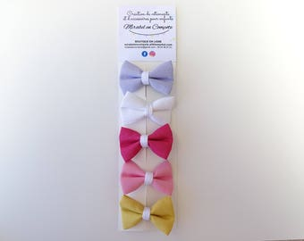 Set of 5 hair bow has Alligator Clips