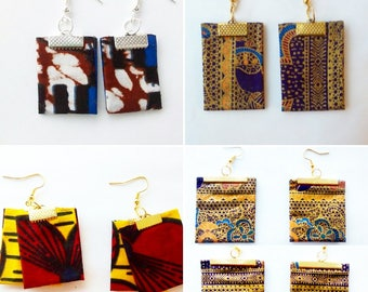 Yellow, gold, blue square african prints earrings
