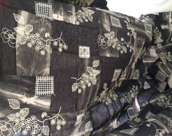 Fabric embroidered patchwork wool width approx 150