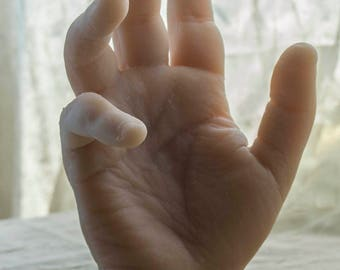 Pose-able Right Silicone Male Mannequin Hand - Display Model Prop - Large