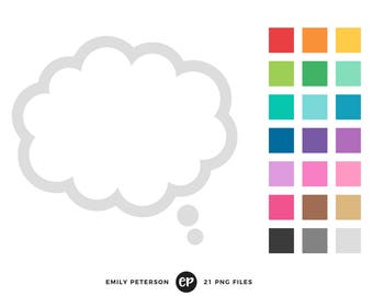 50% OFF SALE! Thought Bubble Clip Art, Speech Bubble Clipart, Text Bubble Clip Art - Commercial Use, Instant Download