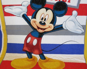 Gift for boy, Gift for girl, Mickey Mouse Quilt, Mickey Mouse Blanket, Mickey Mouse Wall Hanging, Lap Quilt