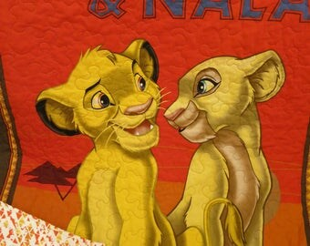 Lion King quilt, Simba and Nala quilt, baby blanket, toddler quilt, wall hanging, lap quilt, Disney fabric, toddler bedding, gender neutral