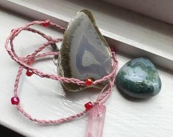 Pink Titanium quartz necklace