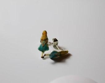 Tiny 'Alice in Wonderland' earrings