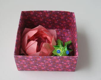 Water lily and Green Frog in origami box
