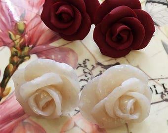 Rose Plug Earrings 0g Gauged Earrings