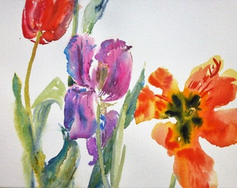 Three Tulips/Tulips Watercolour Original