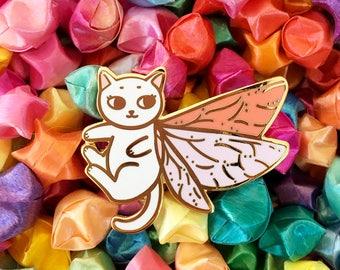 Moth Fairy Cat - Hard enamel pin - kawaii cat pin, cute enamel pin, cat lapel pin, kitty enamel pin, cute kitty pin, cute cat enamel pin