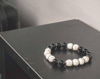 Glass and Bone Stretch Bracelets