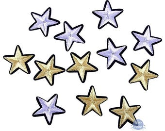 Set of 5 embroidered patches heat-sealed stars star patches 4 cm
