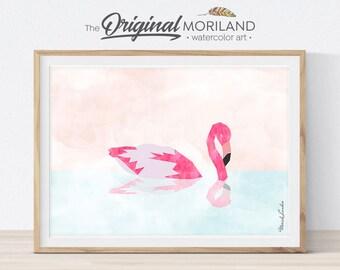 Flamingo Wall Art, Flamingo Art Print, Flamingo Art, Tropical Art Print, Girls Pink Flamingo Print, Living Room Decor, Summer Art, Printable