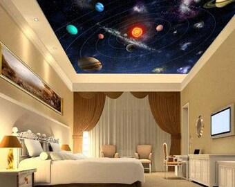 Ceiling Solar System Wallpaper, Solar System Wall Mural, Galaxy Ceiling,  Galaxy Wall Decal
