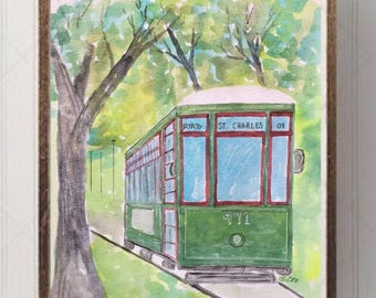 Original New Orleans art, Streetcar painting, Louisiana watercolor painting, landscape painting, Pen and Ink accents, NOLA, Mardi Gras