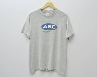 ABC USA Sportswear Shirt Vintage 90s ABC Surfing Tee Thin Shirt Activewear Made in usa Size M
